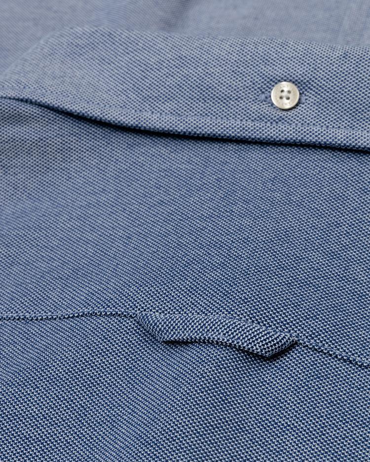 GANT Erkek Mavi Slim Fit Tech Prep Pique Gömlek