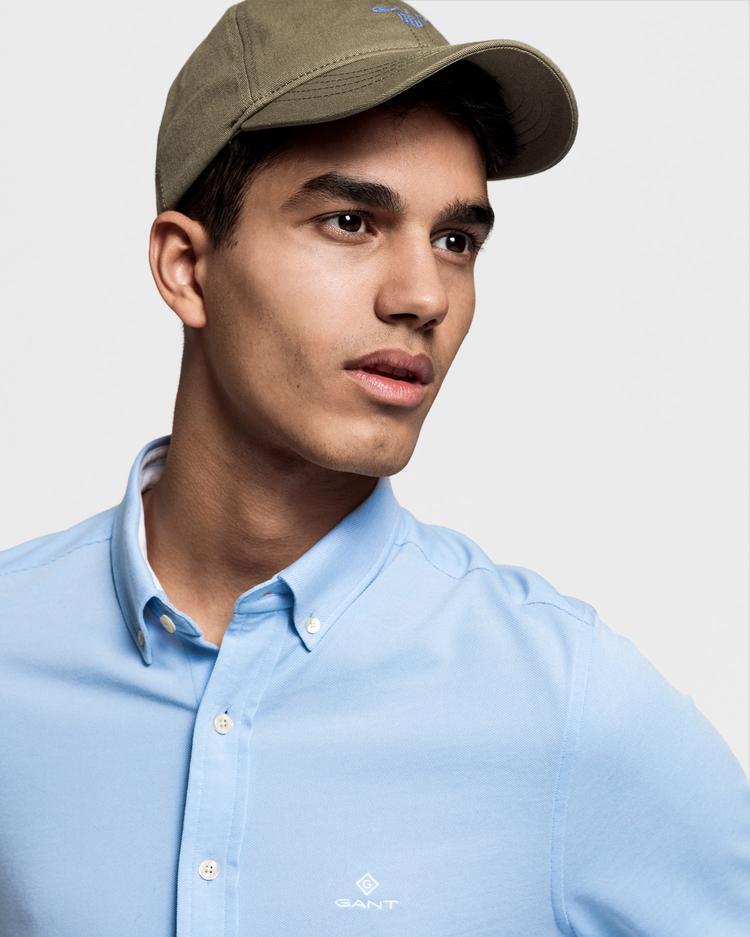 Gant Erkek Açık Mavi Slim Fit Tech Prep Pique Gömlek