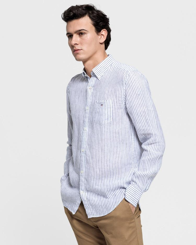 GANT Erkek Beyaz Regular Fit Keten Banker Gömlek