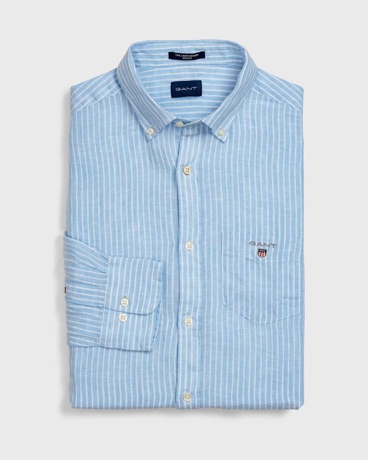 GANT Erkek Açık Mavi Regular Fit Keten Banker Gömlek