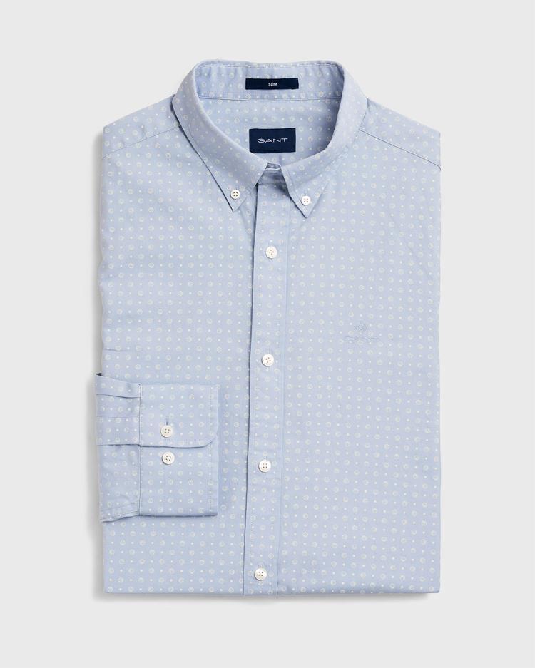 GANT Erkek Mavi Slim Fit Micro Sport Baskılı Gömlek