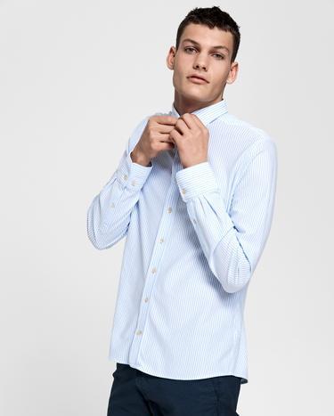 GANT Erkek Açık Mavi Slim Fit Tech Prep Pique Çizgili Gömlek