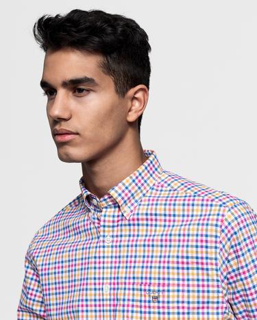 GANT Erkek Mavi Regular Fit Broadcloth Kareli Gömlek