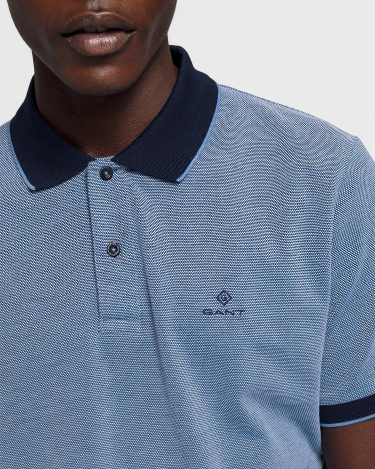 GANT Erkek Mavi Regular Fit Pique Polo