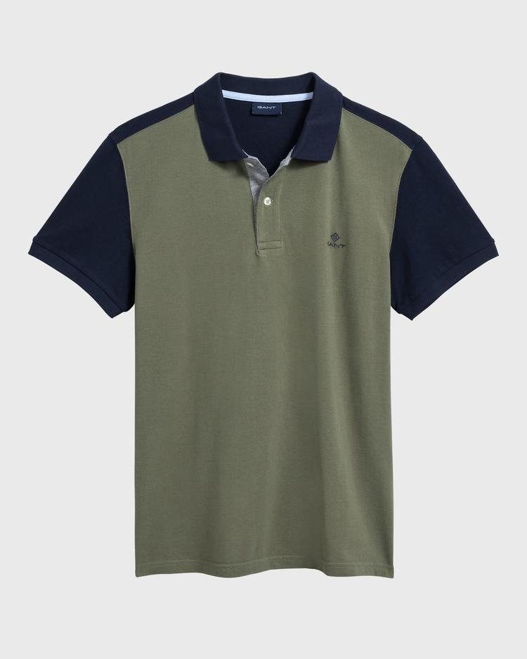 GANT Erkek Yeşil Renk Bloklu Pique Rugger Polo