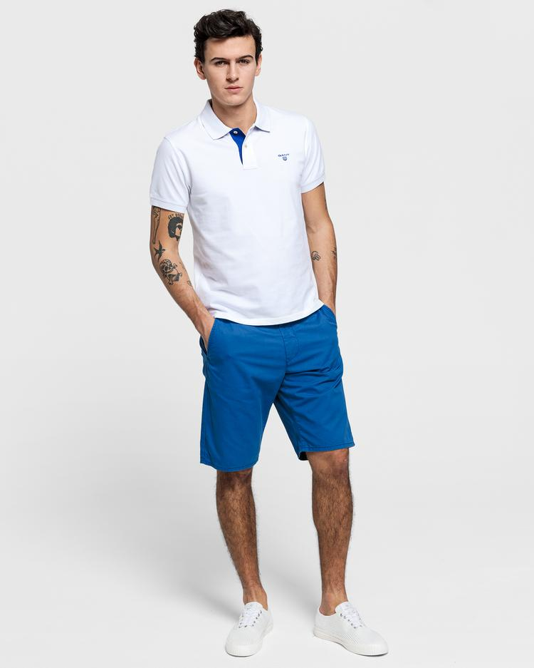 GANT Erkek Beyaz Kontrast Yaka Pique Rugger Polo
