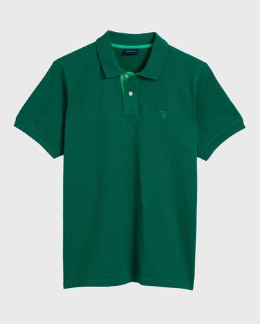 GANT Erkek Yeşil Kontrast Yaka Pique Rugger Polo