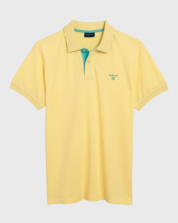 GANT Erkek Sarı Kontrast Yaka Pique Rugger Polo