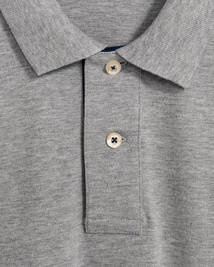 Gant Erkek Gri Melanj Kontrast Yaka Pique Rugger Polo