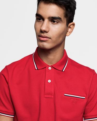 GANT Erkek Kırmızı Pique Rugger Polo