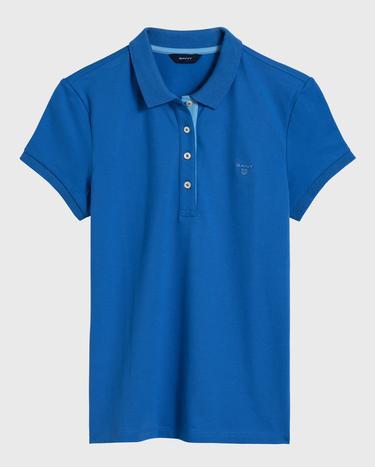 GANT Kadın Mavi Kontrast Yaka Pique Polo