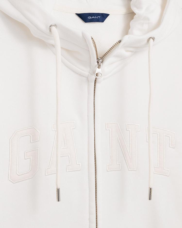GANT Kadın Krem Rengi Logo Fermuarlı Sweatshirt