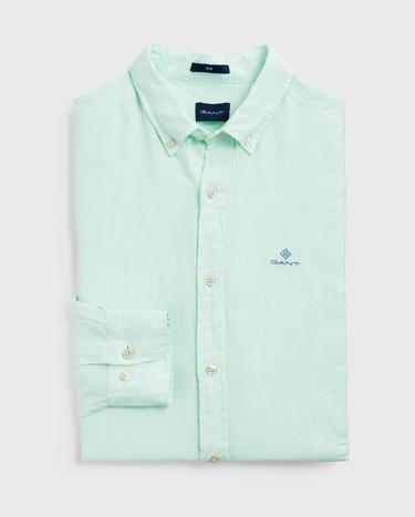 Gant Erkek Yeşil Slim Fit Keten Gömlek