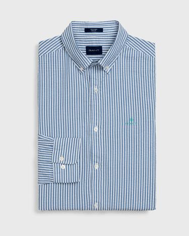 Gant Erkek Mavi Regular Fit Tech Prep Çizgili Gömlek