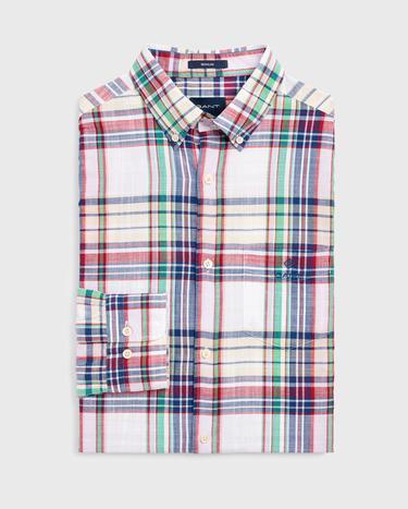 Gant Erkek Beyaz Regular Fit Classic Madras Gömlek