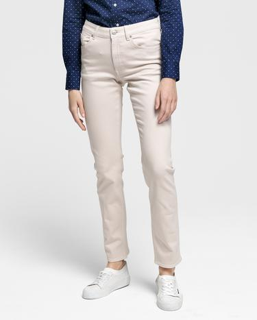 GANT Kadın Krem Slim Fit Twill Denim Pantolon