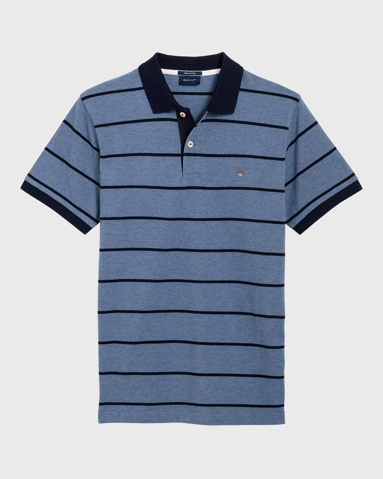 Gant Erkek Mavi Çizgili Pique Rugger Polo