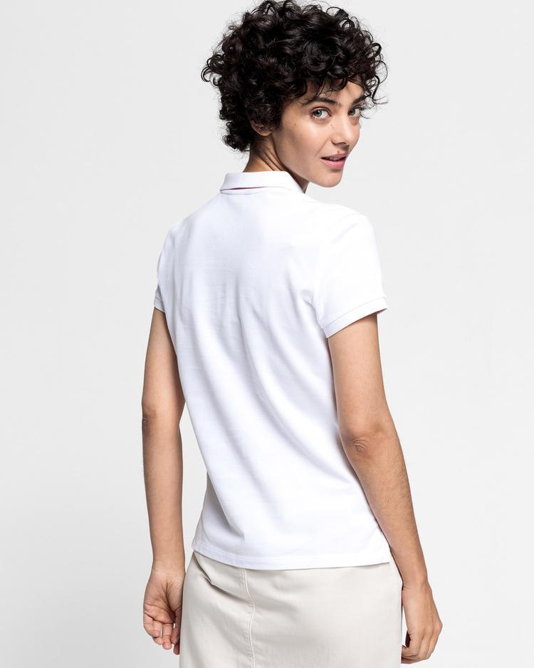 GANT Kadın Beyaz Kontrast Yaka Pique Polo