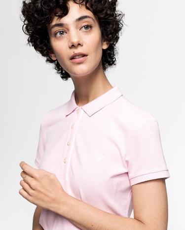 Gant Kadın Pembe Kontrast Yaka Pique Polo