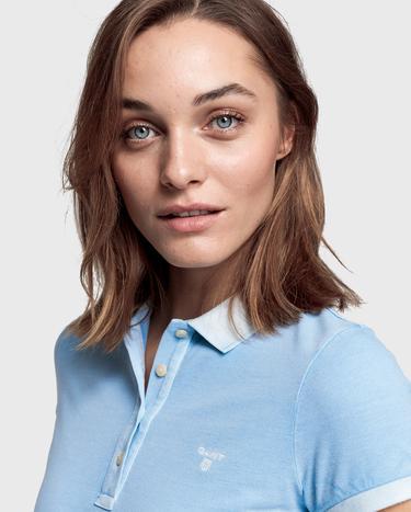 GANT Kadın Açık Mavi Pique Rugger Polo