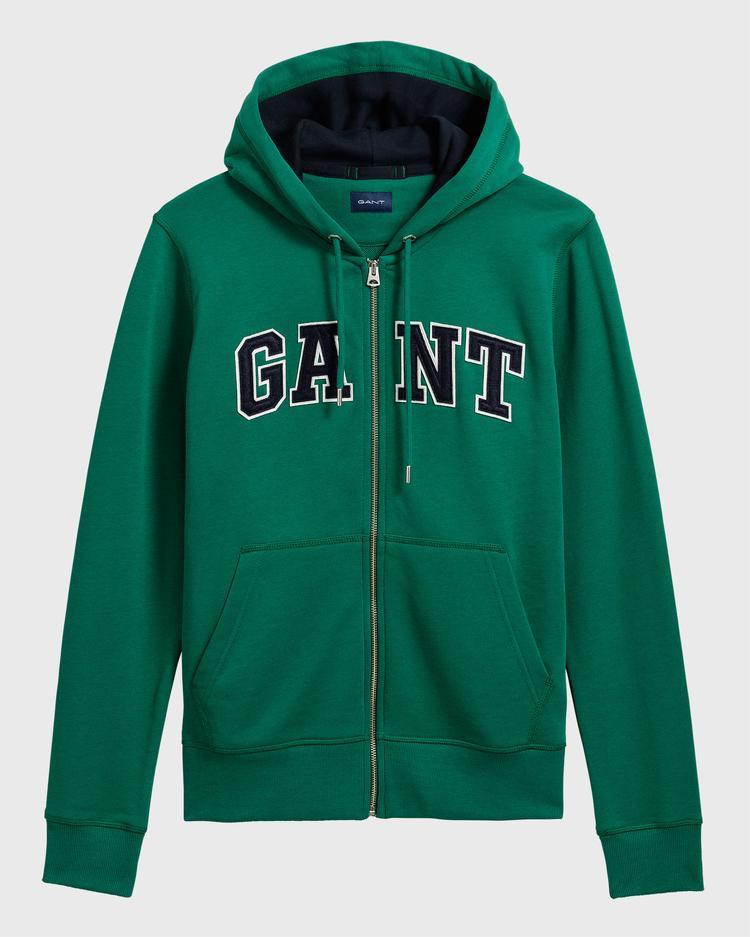 GANT Erkek Yeşil Grafik Baskılı Fermuarlı Sweatshirt