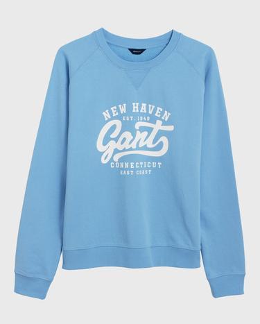 GANT Kadın Açık Mavi Logo Baskılı Sweatshirt