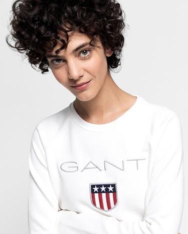 Gant Kadın Krem Rengi Logo Baskılı Sweatshirt