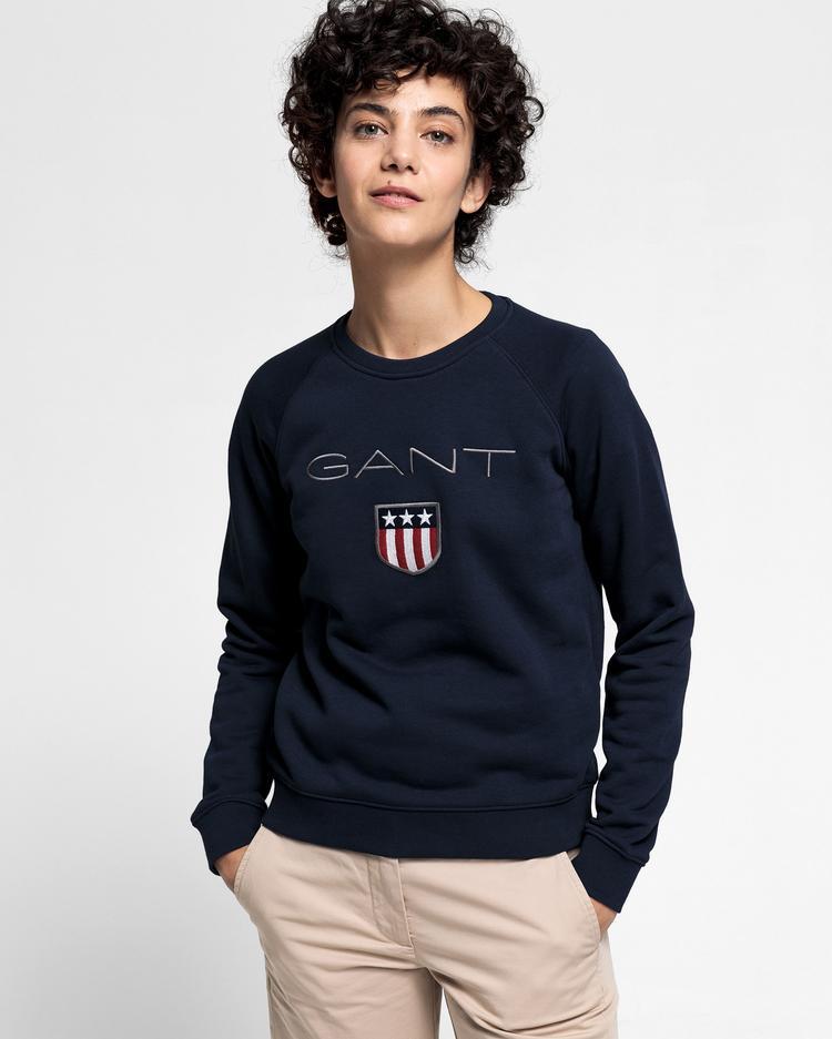 GANT Kadın Lacivert Logo Baskılı Sweatshirt