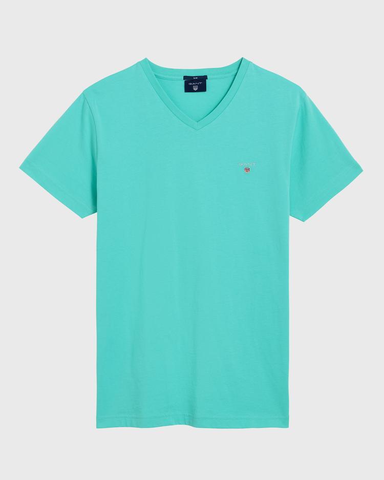 GANT Erkek Yeşil Slim Fit V Yaka T-Shirt
