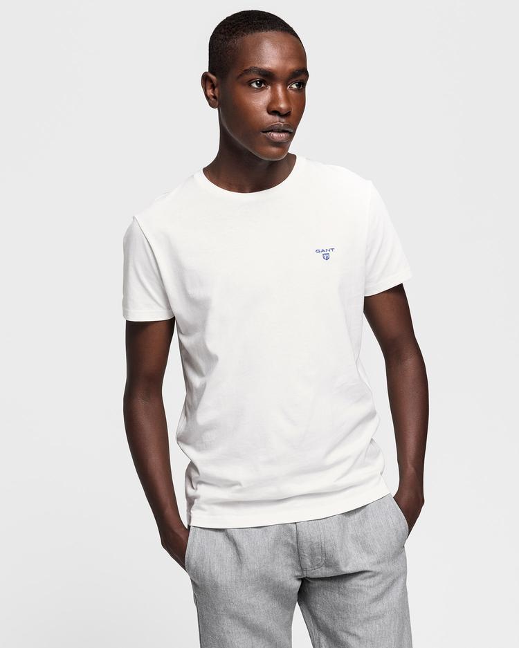 GANT Erkek Krem Rengi Kontrast Logo T-Shirt