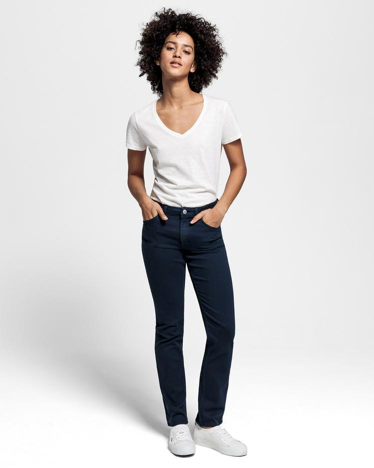 GANT Kadın Beyaz V Yaka T-Shirt