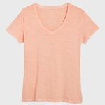 GANT Kadın Şeftali Rengi V Yaka T-Shirt