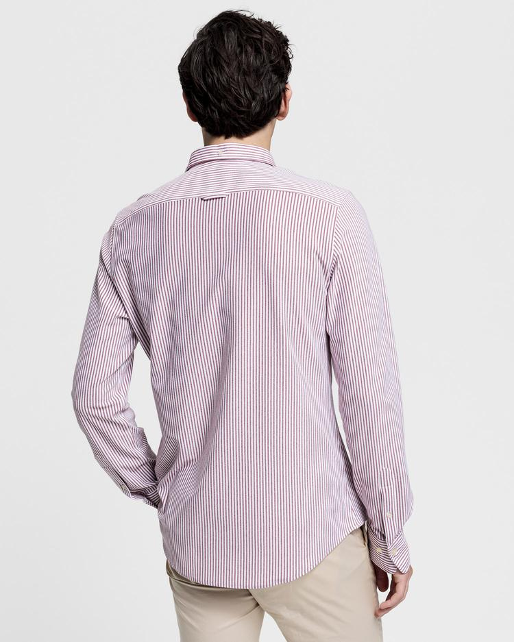 Gant Erkek Kırmızı Slim Fit Tech Prep Pique Çizgili Gömlek