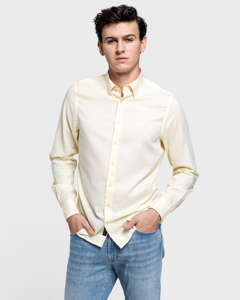 GANT Erkek Sarı Slim Fit Tech Prep Oxford Gömlek