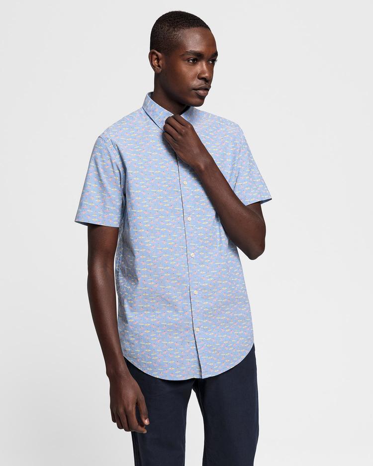 GANT Erkek Açık Mavi Regular Fit Micro Gömlek