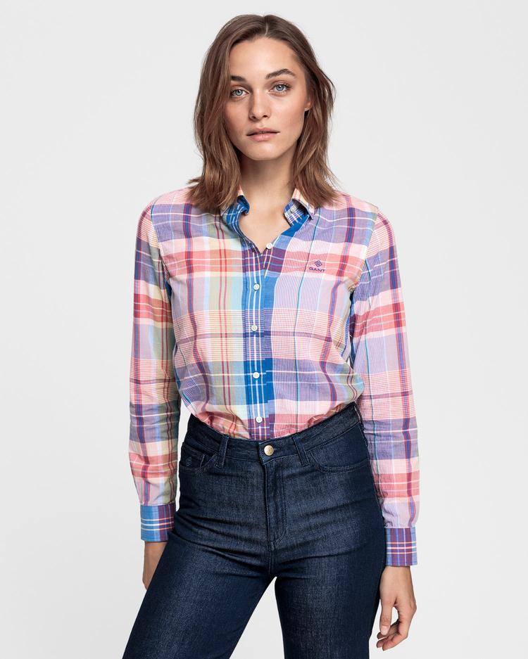 GANT Kadın Şeftali Rengi Madras Gömlek