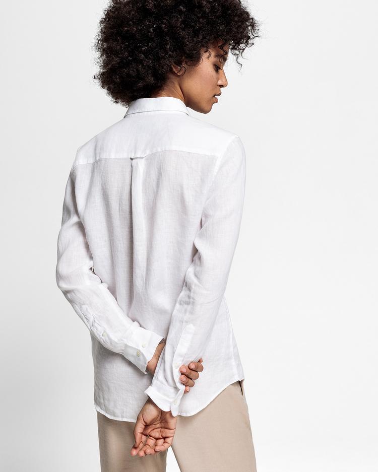 GANT Kadın Beyaz Keten Chambray Gömlek