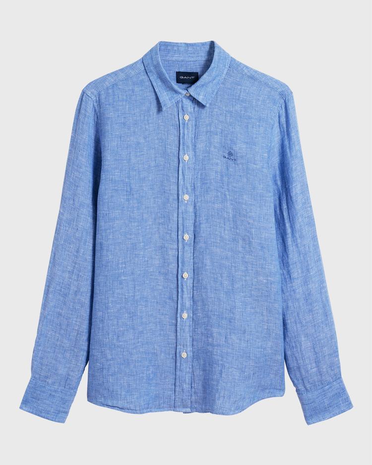 GANT Kadın Mavi Keten Chambray Gömlek