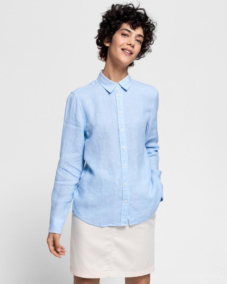 GANT Kadın Açık Mavi Keten Chambray Gömlek