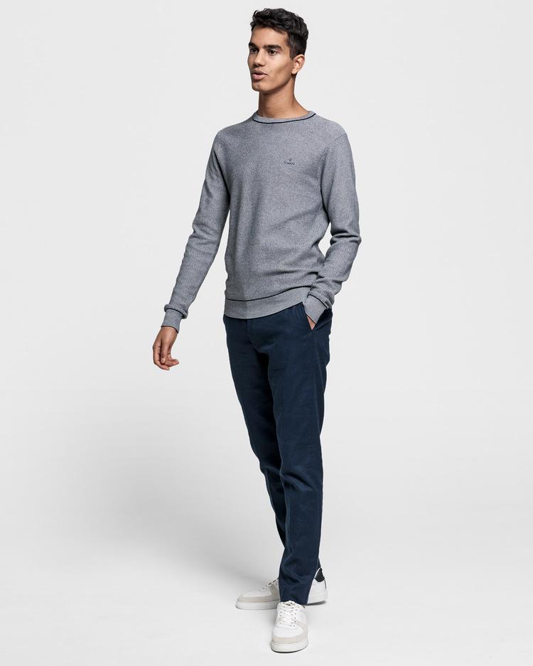 GANT Erkek Lacivert Slim Fit Keten Pantolon