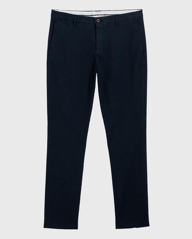 GANT Erkek Mavi Slim Fit Signature Weave Baskılı Pantolon