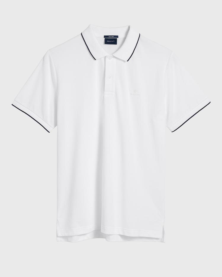 GANT Erkek Beyaz Tech Prep Pique Rugger Polo