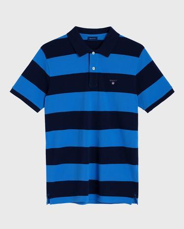 GANT Erkek Mavi Regular Fit Çizgili Pique Rugger Polo