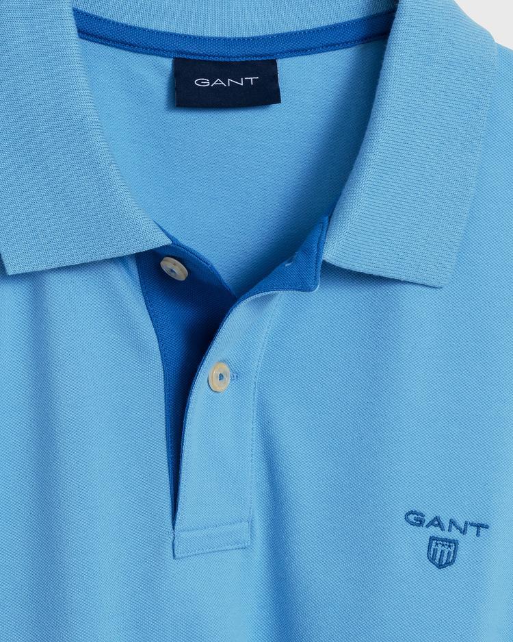 Gant Erkek Mavi Kontrast Yaka Pique Rugger Polo