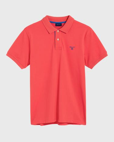 GANT Erkek Kırmızı Kontrast Yaka Pique Rugger Polo
