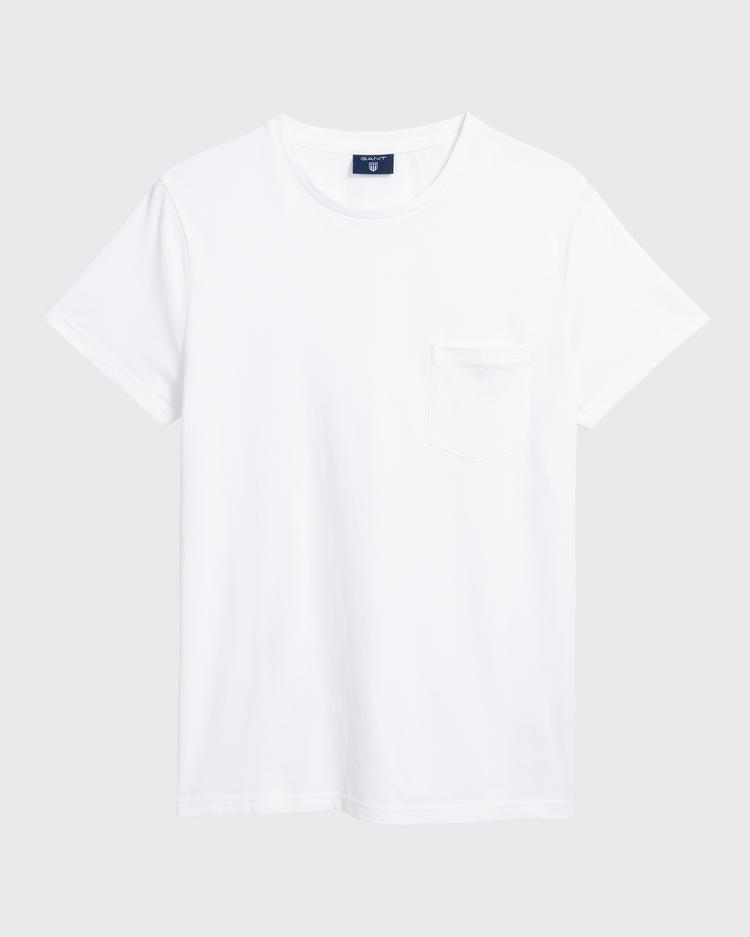 GANT Erkek Beyaz Pique T-Shirt