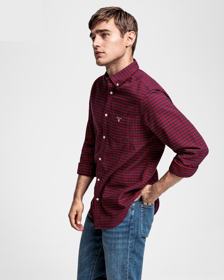 GANT Erkek Bordo Kareli Oxford Regular Fit Gömlek