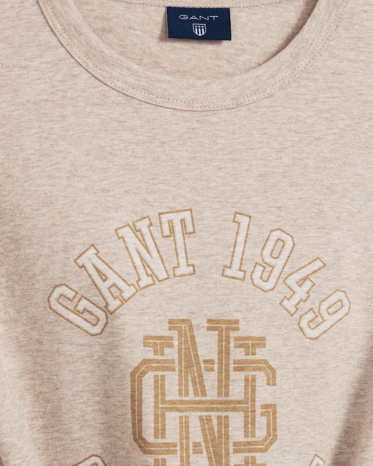 GANT Erkek Bej Tona Ton Grafik Baskılı T-Shirt