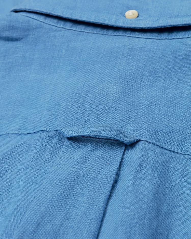 GANT Erkek Mavi Slim Fit Keten Gömlek