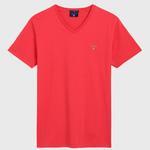 GANT Erkek Kırmızı Slim Fit V Yaka T-Shirt